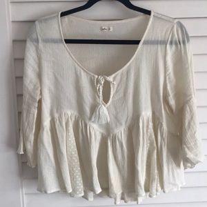 Hollister Flowey Shirt Cream Medium